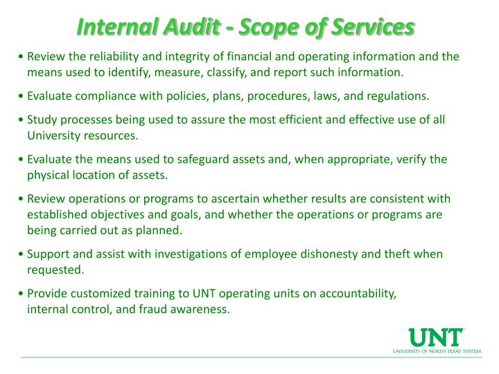 Internal Audit - Scope of Services