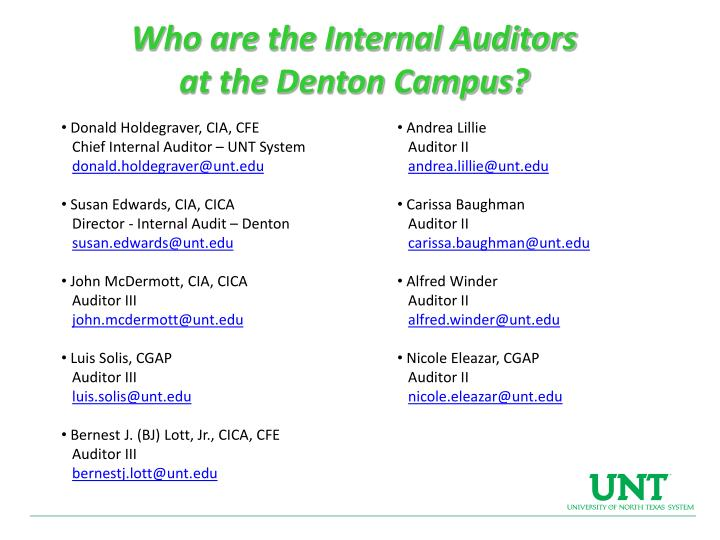 Who are the Internal Auditors