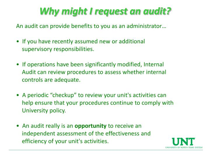 Why might I request an audit?