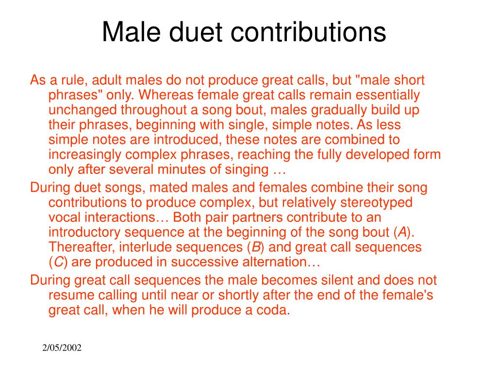 Male duet contributions