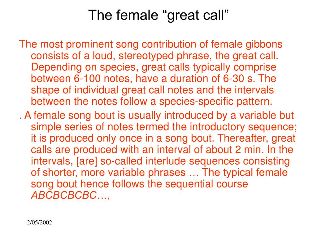 """The female """"great call"""""""
