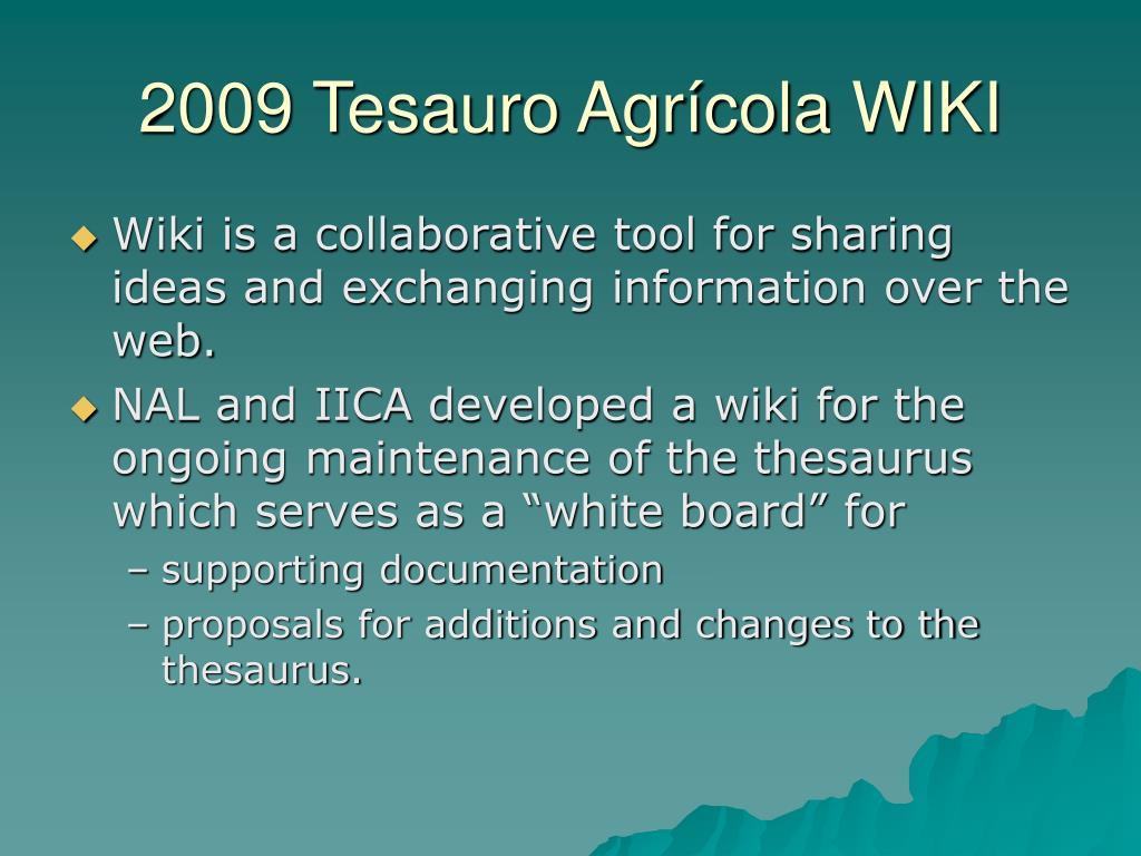 2009 Tesauro Agrícola WIKI