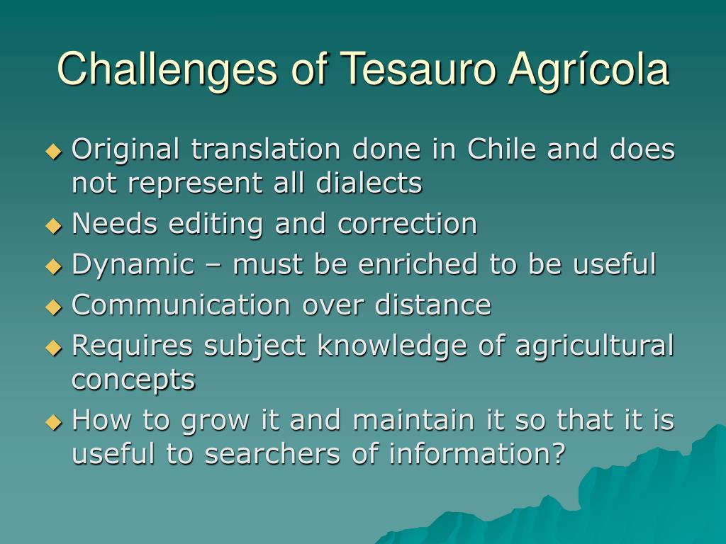 Challenges of Tesauro Agrícola