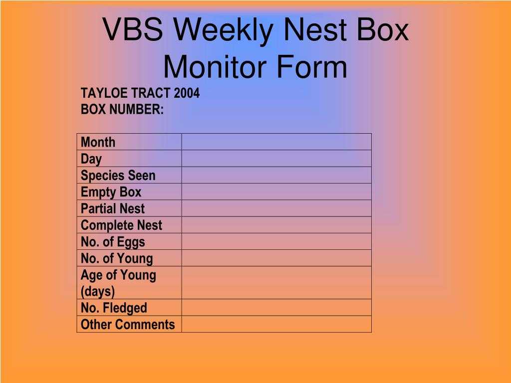 VBS Weekly Nest Box