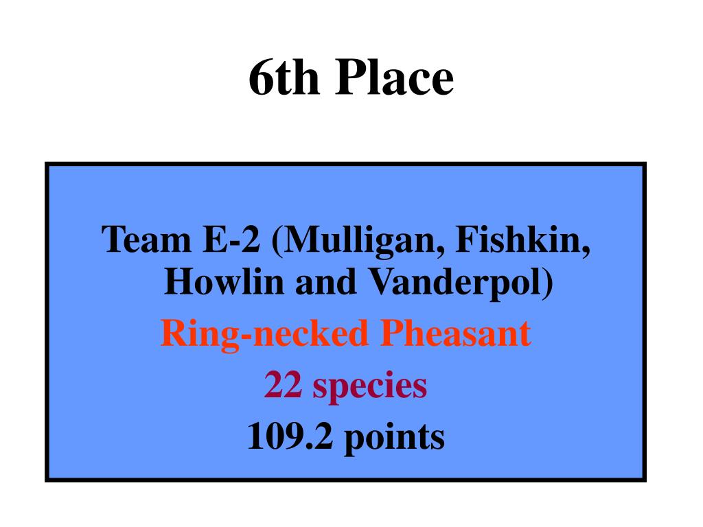 6th Place