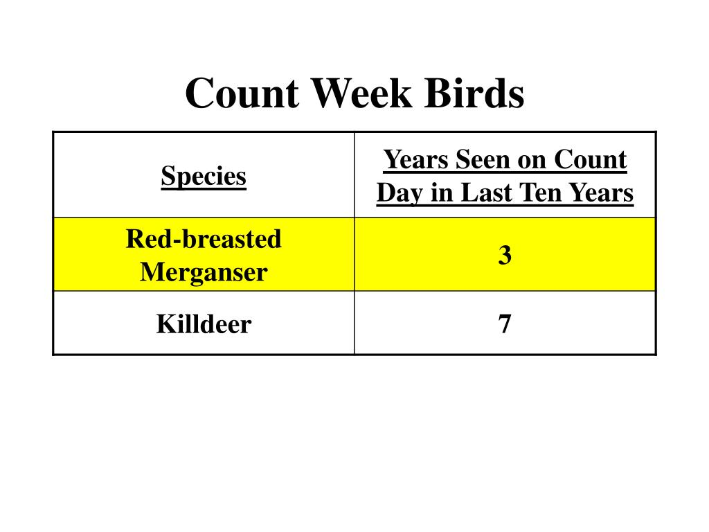 Count Week Birds