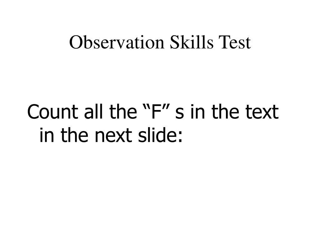 Observation Skills Test