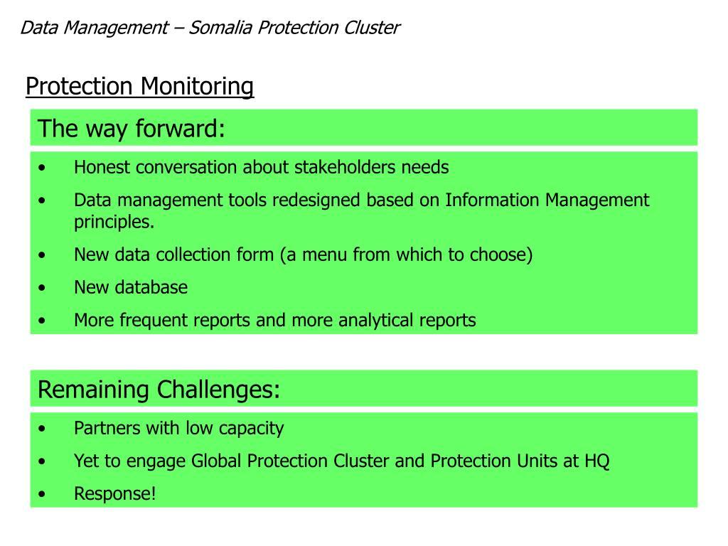 Data Management – Somalia Protection Cluster
