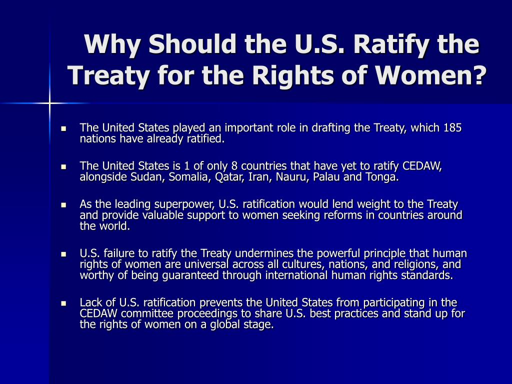 Why Should the U.S. Ratify the Treaty for the Rights of Women?
