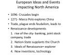 european ideas and events impacting north america