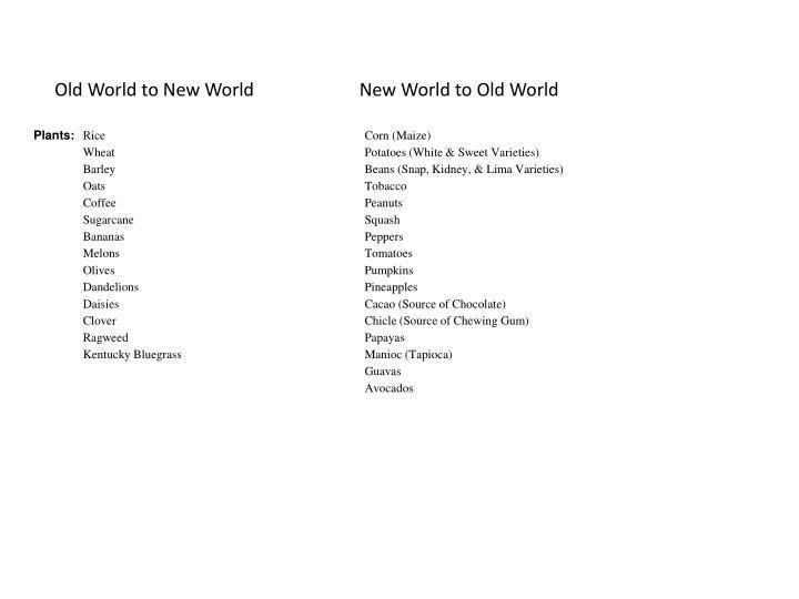 Old World to New World                       New World to Old World