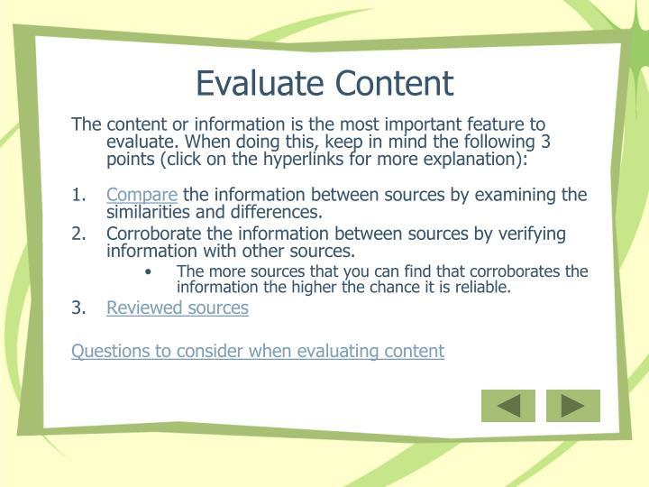Evaluate Content