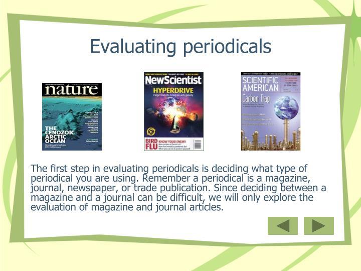 Evaluating periodicals