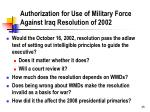 authorization for use of military force against iraq resolution of 2002