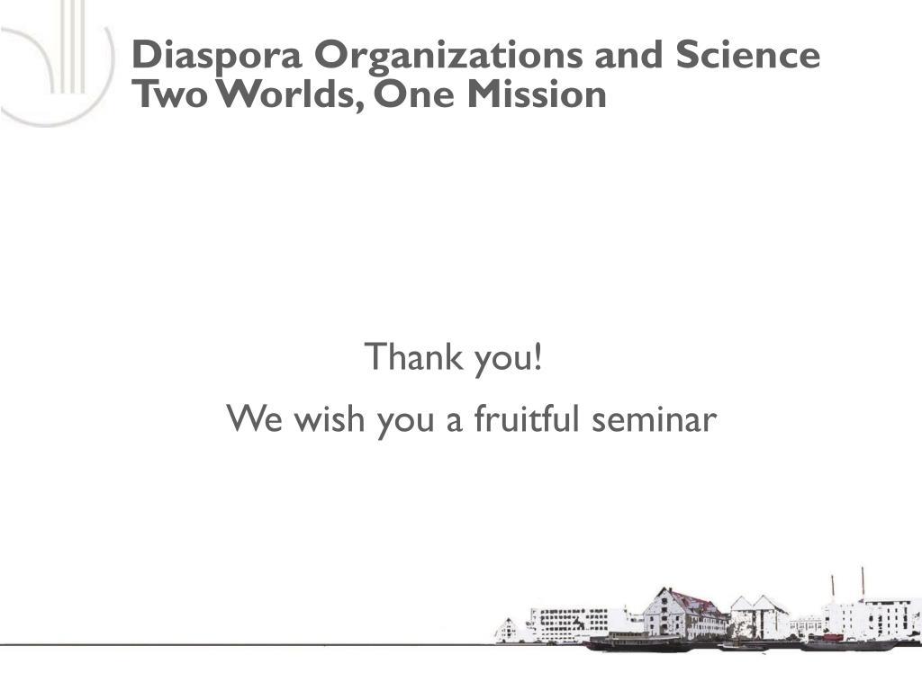 Diaspora Organizations and Science