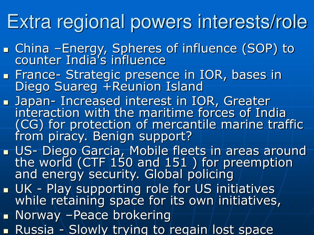 Extra regional powers interests/role