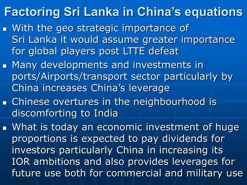 Factoring Sri Lanka in China's equations