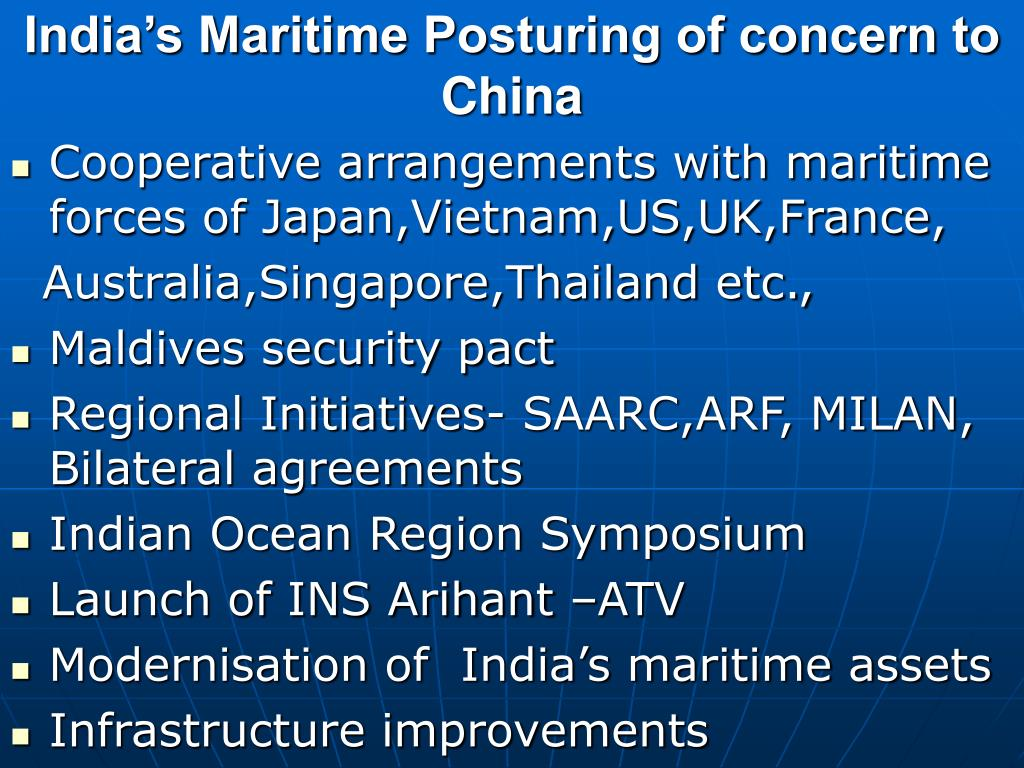 India's Maritime Posturing of concern to China