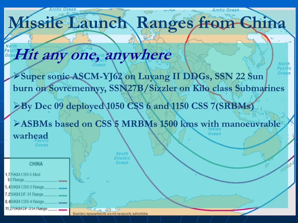 Missile Launch  Ranges from China