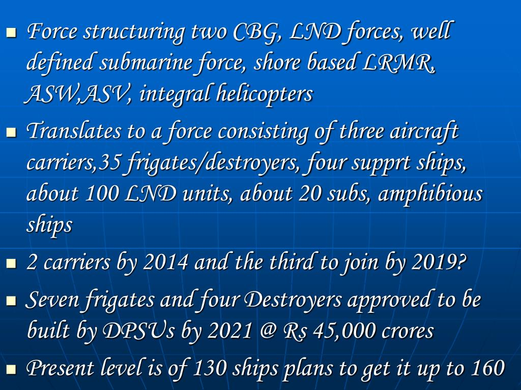 Force structuring two CBG, LND forces, well defined submarine force, shore based LRMR, ASW,ASV, integral helicopters