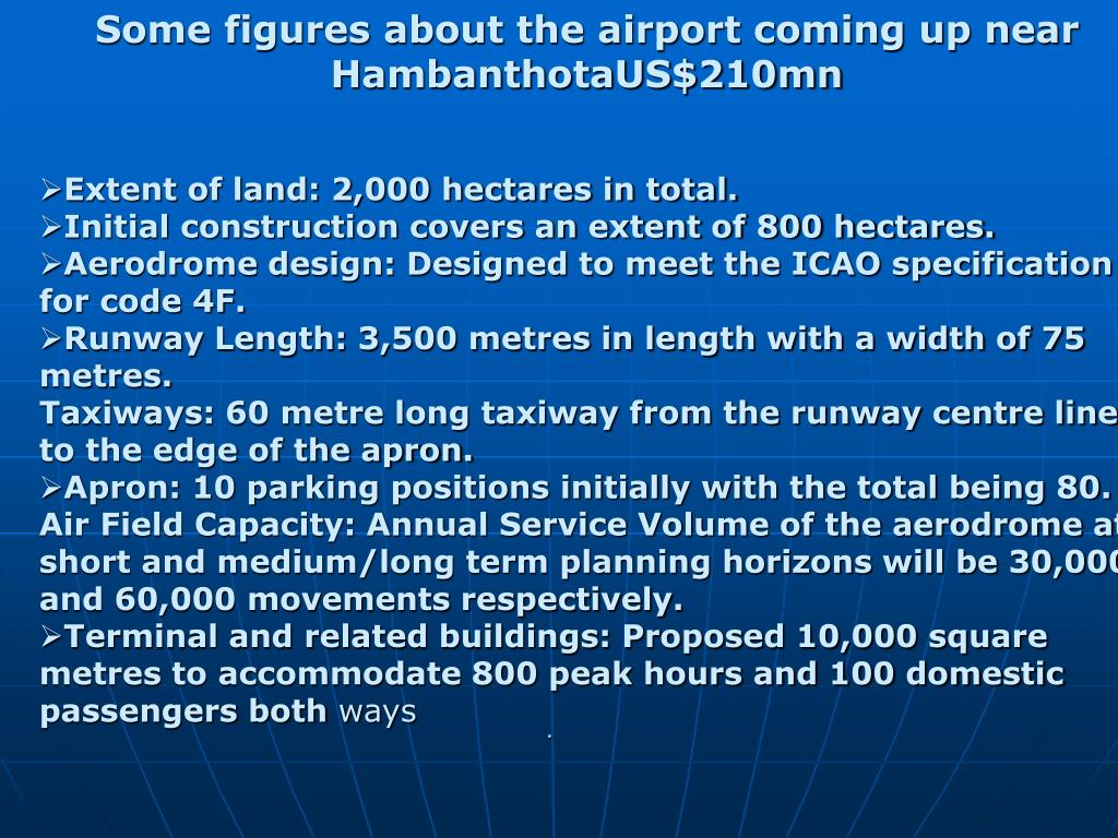 Some figures about the airport coming up near HambanthotaUS$210mn