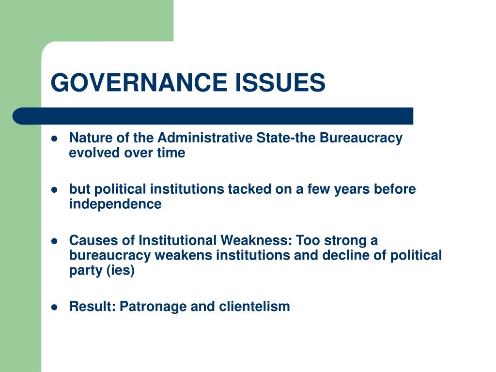 GOVERNANCE ISSUES