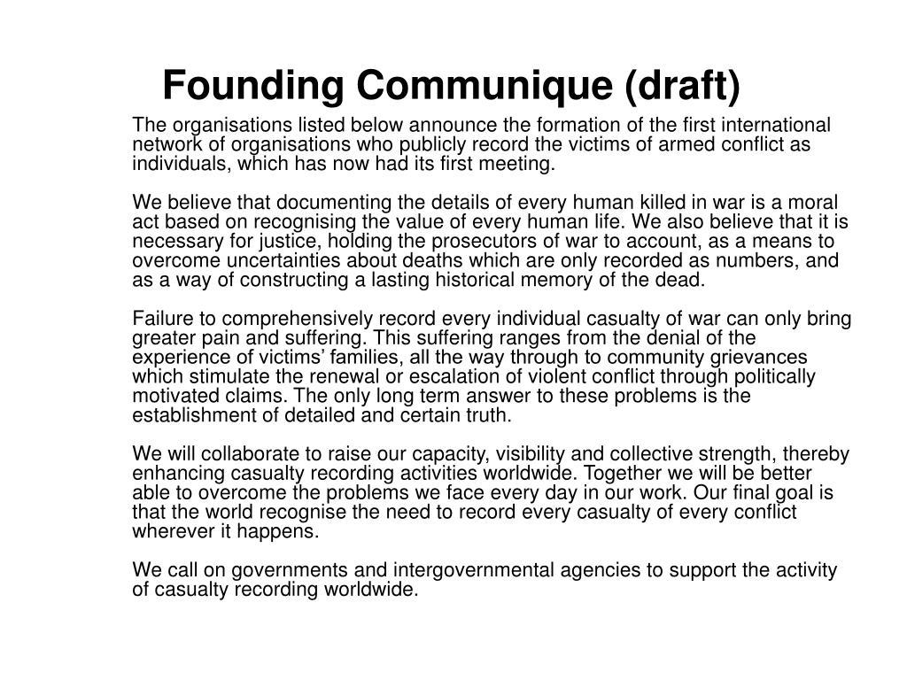 Founding Communique (draft)