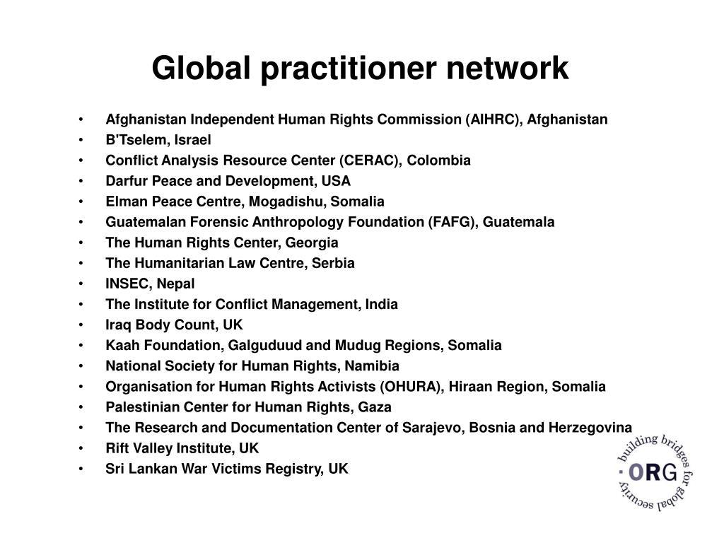 Global practitioner network