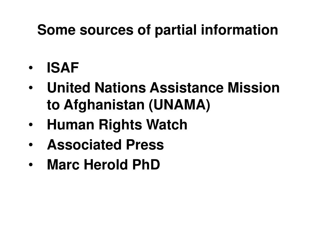 Some sources of partial information