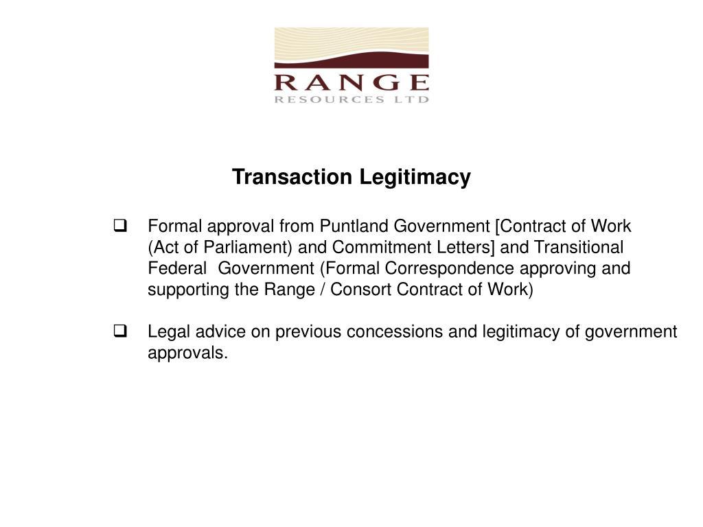 Transaction Legitimacy