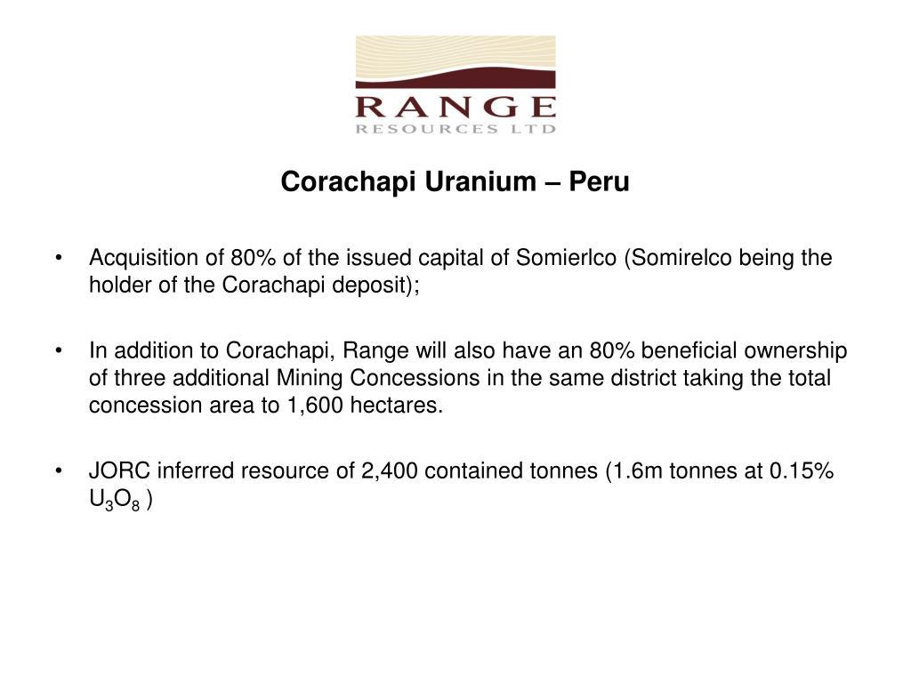 Corachapi Uranium – Peru