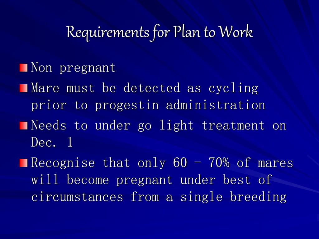 Requirements for Plan to Work