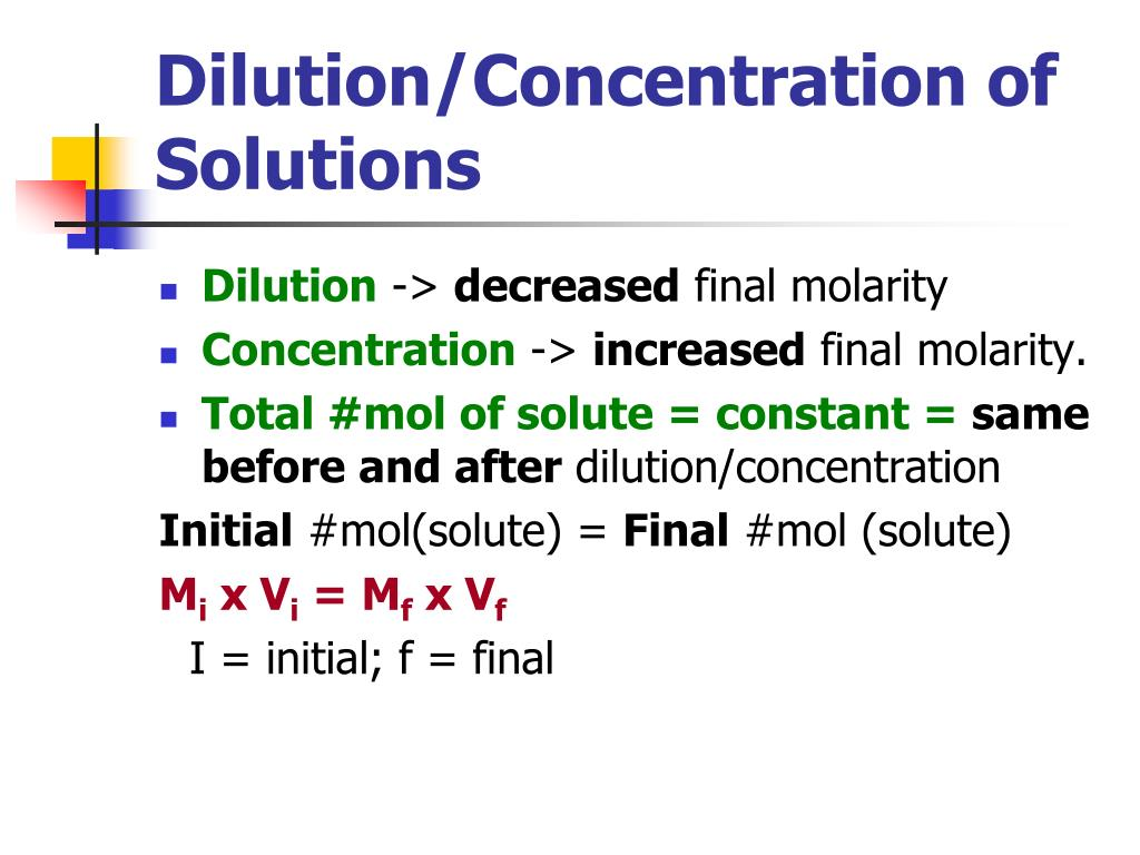 Dilution/Concentration of Solutions