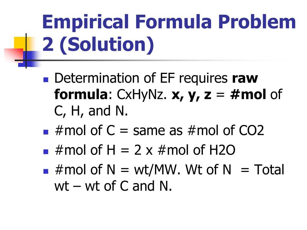 Empirical Formula Problem 2 (Solution)