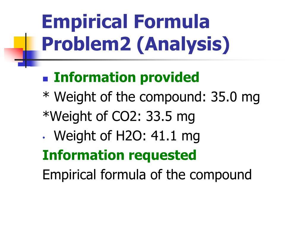 Empirical Formula Problem2 (Analysis)