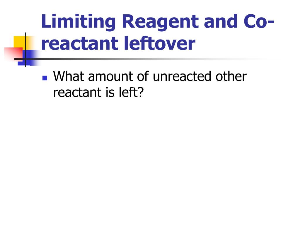 Limiting Reagent and Co-reactant leftover