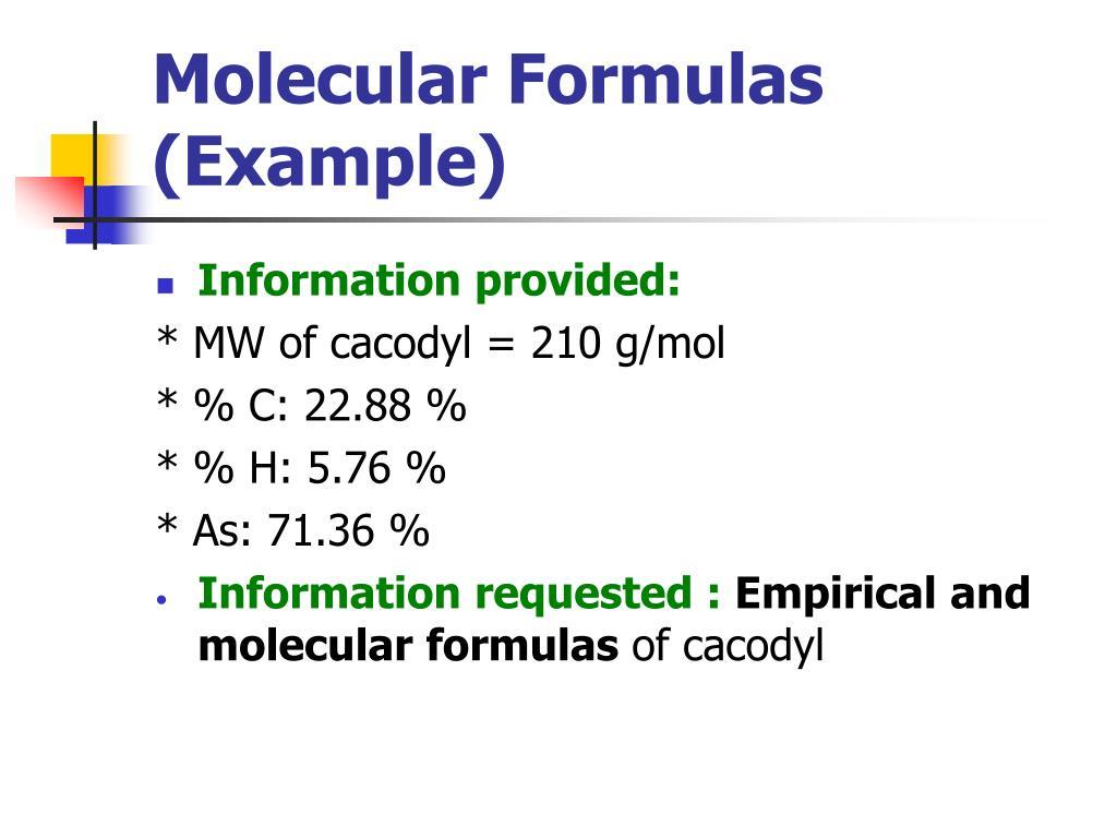 Molecular Formulas (Example)