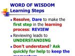 word of wisdom learning steps