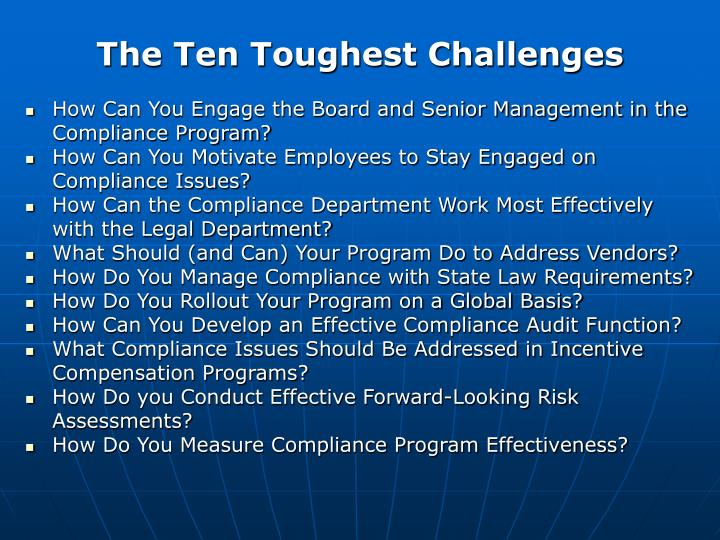 The Ten Toughest Challenges