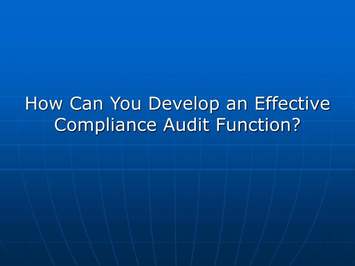 How Can You Develop an Effective Compliance Audit Function?