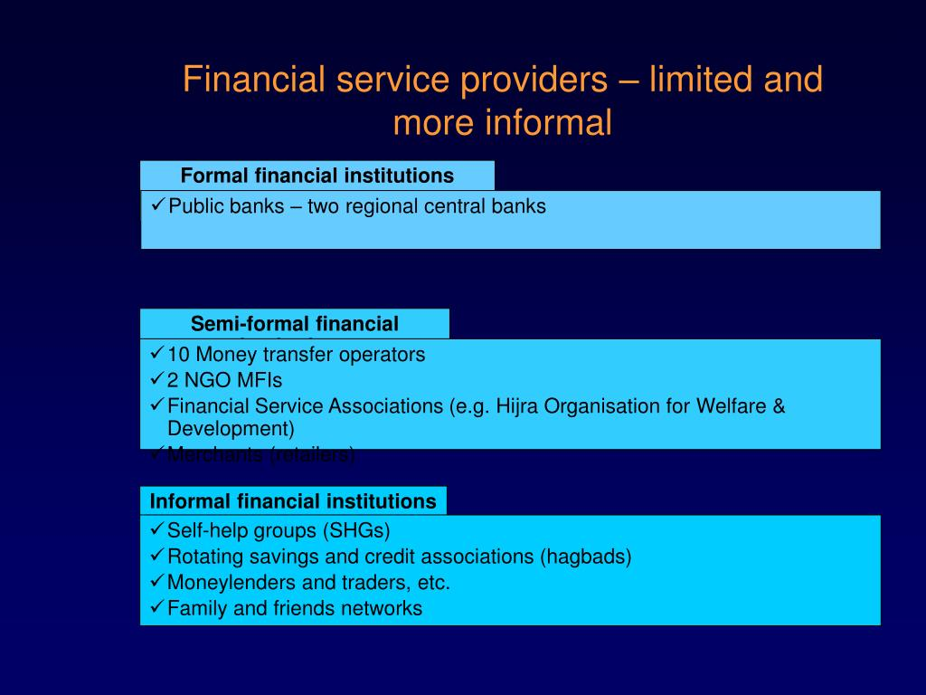Formal financial institutions