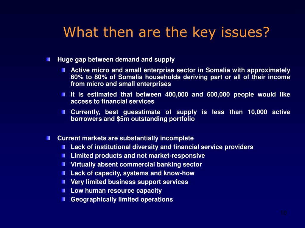 What then are the key issues?