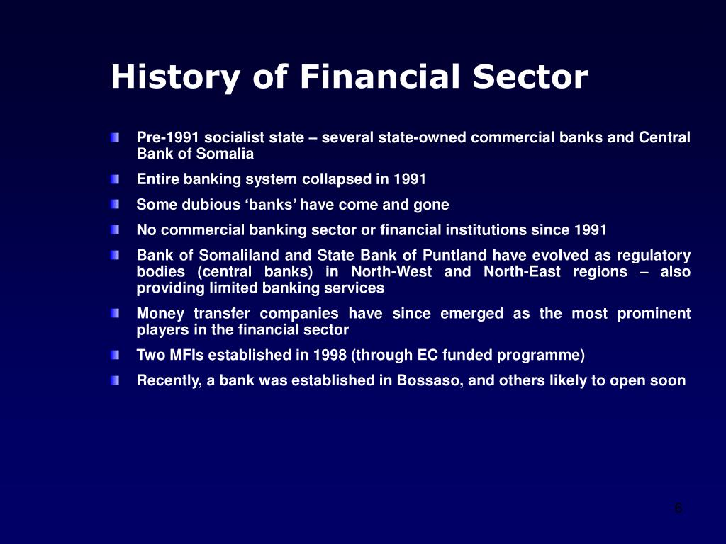 History of Financial Sector