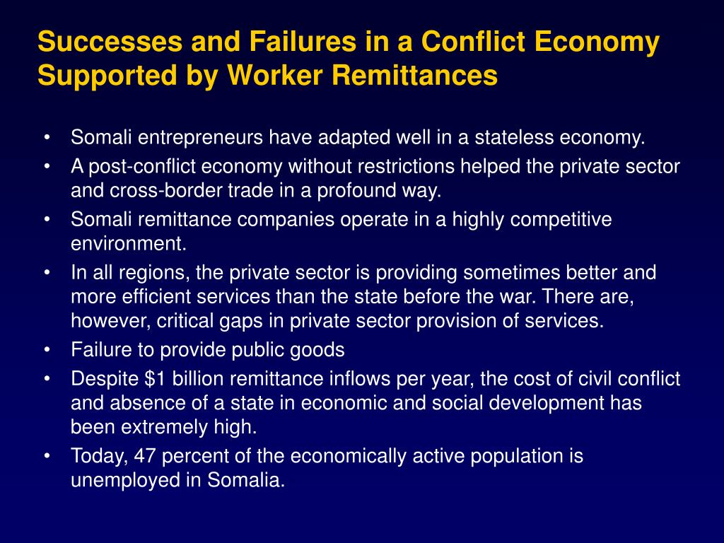 Successes and Failures in a Conflict Economy Supported by Worker Remittances