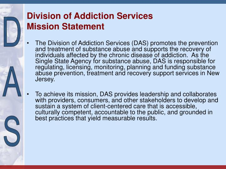 Division of addiction services mission statement
