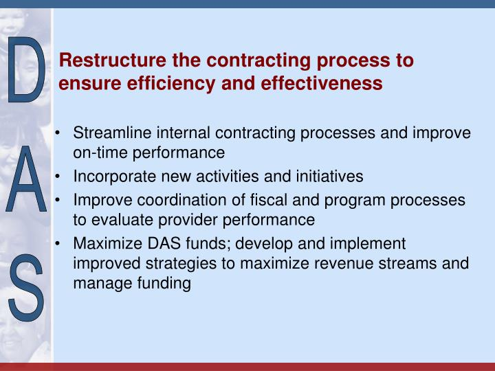 Restructure the contracting process to ensure efficiency and effectiveness