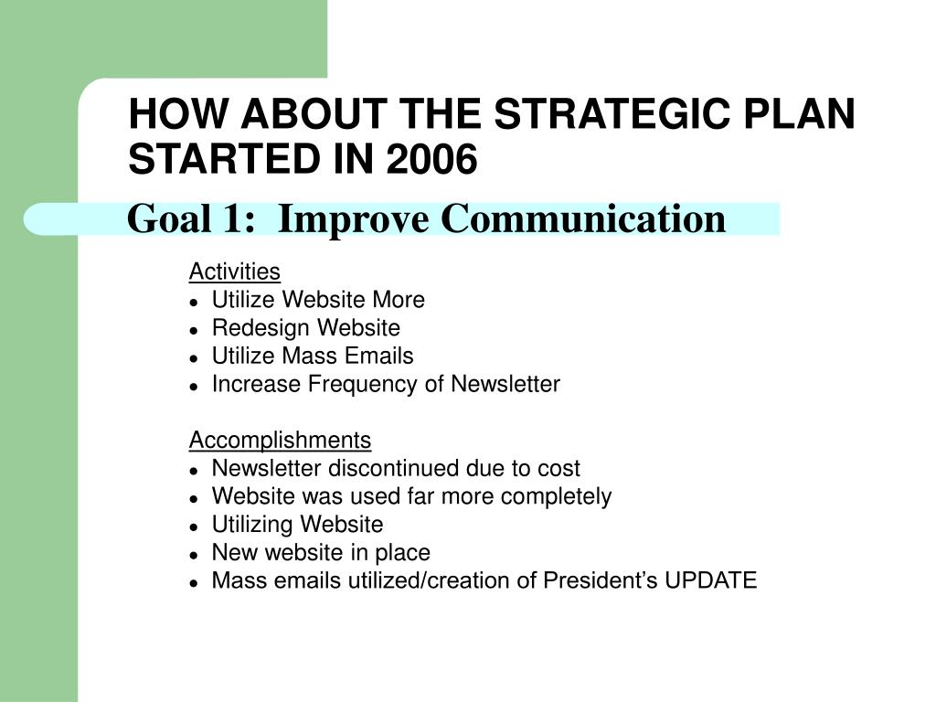 HOW ABOUT THE STRATEGIC PLAN