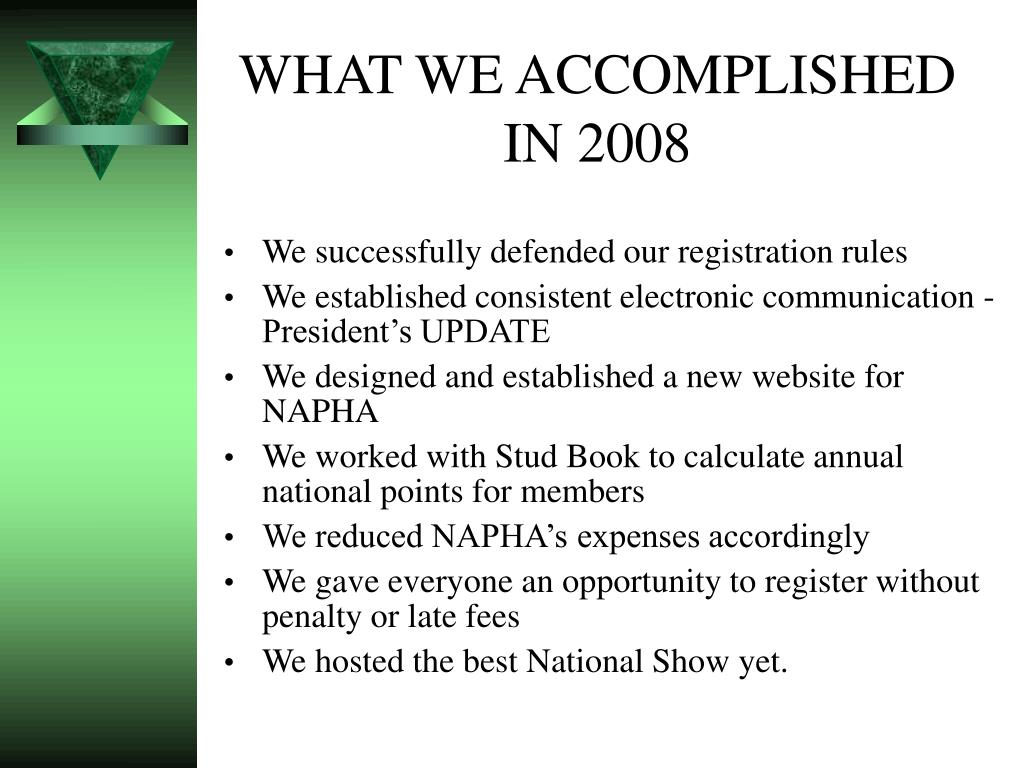 WHAT WE ACCOMPLISHED