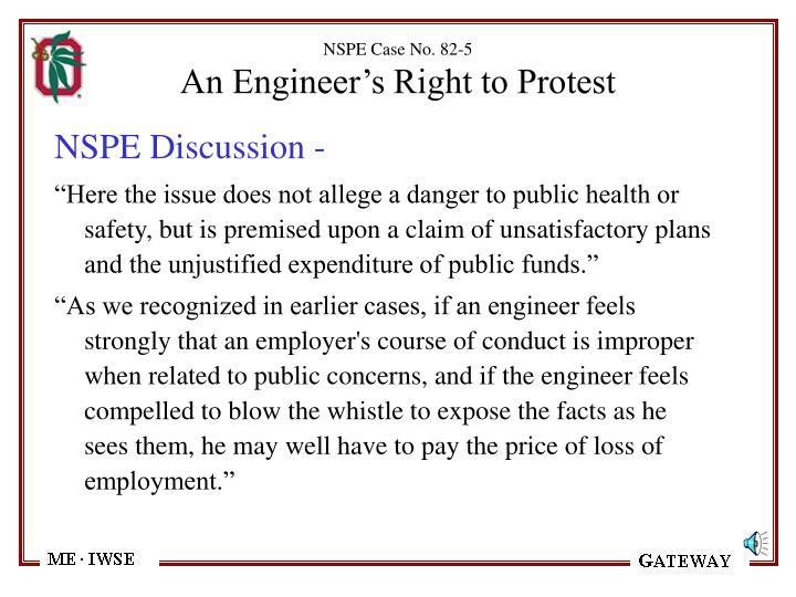 NSPE Case No. 82-5