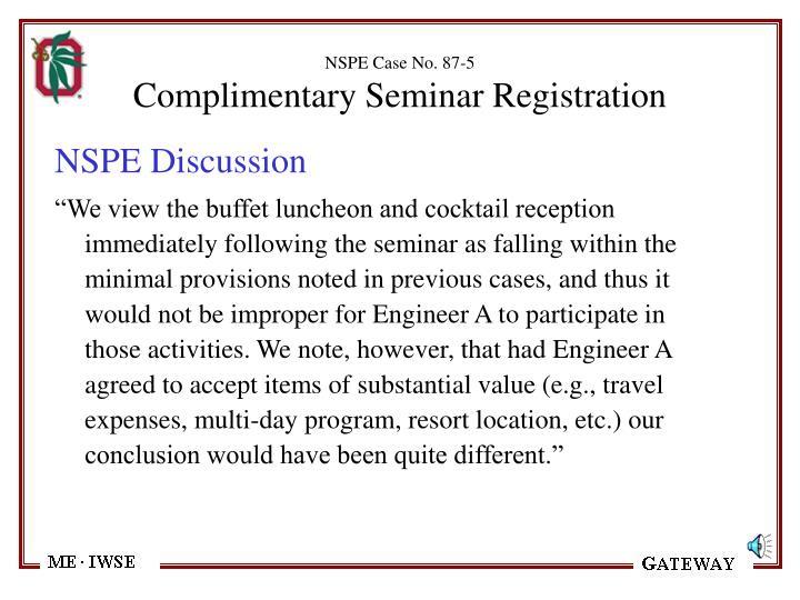 NSPE Case No. 87-5